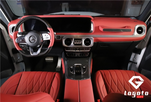 奔驰G500改菱格红内饰